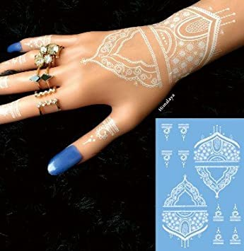 White Lace Tattoo N32 Henna Style Temporary Tattoo Amazon Co Uk
