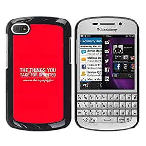 Paccase / SLIM PC / Aliminium Casa Carcasa Funda Case Cover para - BIBLE The Things You Take For Granted - BlackBerry Q10