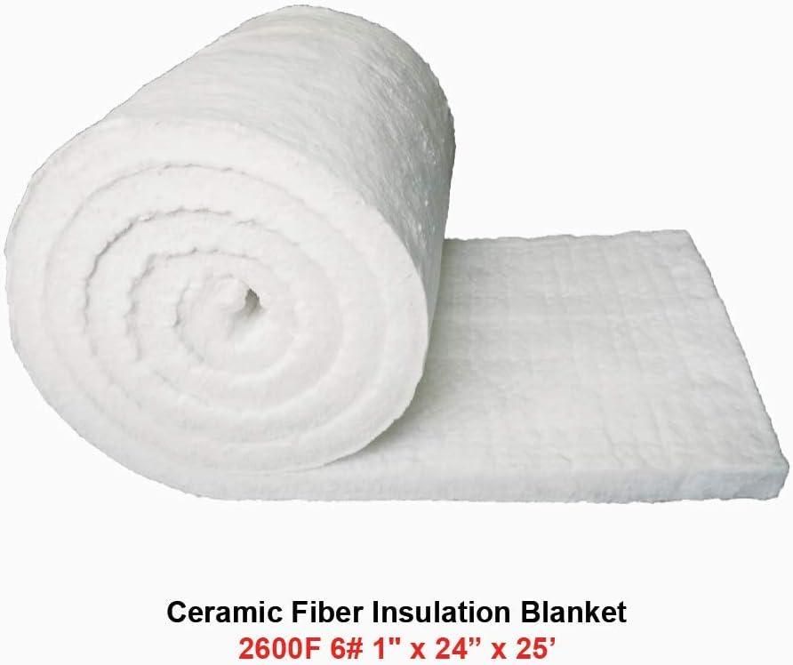 Ceramic Fiber Insulation Blanket 2600F 6# 1 x 24 x 25 for Wood Stoves Fireplaces Kilns Furnaces