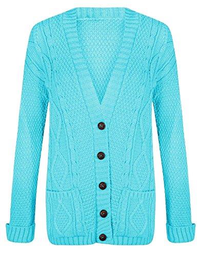 Look in dimensioni pulsante donna 8 lavorato a maniche Da donna Turquoise lunghe nonno lungo maglia Cardigan a 22 da cavo Glossy qYCdq
