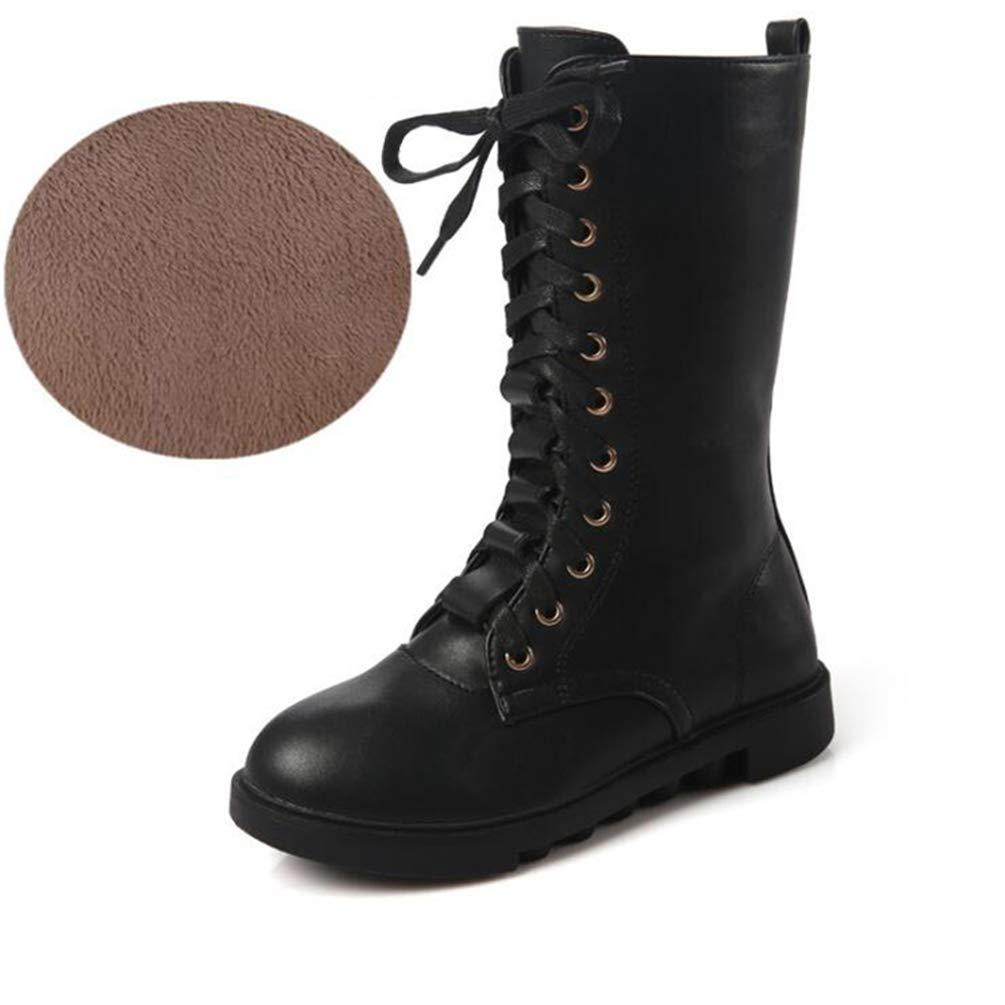 ZHRUI Mädchen Kniehohe Stiefel Seitlicher Reißverschluss Schwarz Weiß Rot Rot Rot Herbst Casual Stiefel Winter Warm Plus Samt Stiefel (Farbe   SCHWARZ A, Größe   2 UK) 37e09a