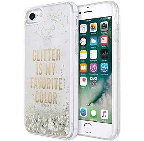 Kate Spade New York Clear Liquid Glitter Case for Apple iPhone 7 - Glitter is My Favorite Color (Gold)