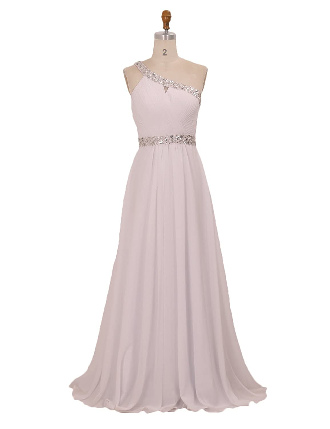 50a69f0525 One Shoulder Strap Beaded Chiffon Dresses Womens Formal Evening Gowns for  Weddings Ivory Size 16 at Amazon Women's Clothing store: