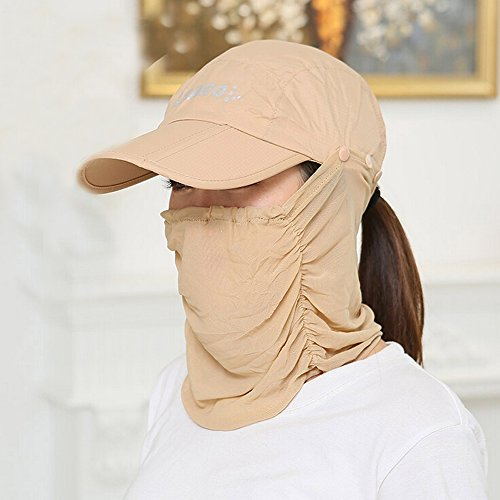 14159ead621 Ezyoutdoor Anti-UV Sun Hat With Removable Sun Shield And Neck Face Mask  Protection With Folding Brim Outdoor Hat for Fishing Hunting Camping  Swimming Hiking