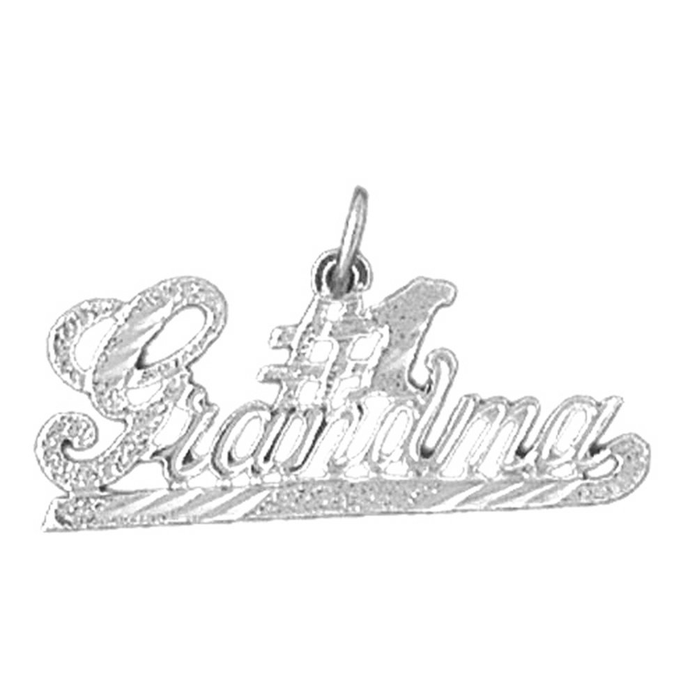 Jewels Obsession Silver #1 Grandma Necklace Rhodium-plated 925 Silver #1 Grandma Pendant with 18 Necklace