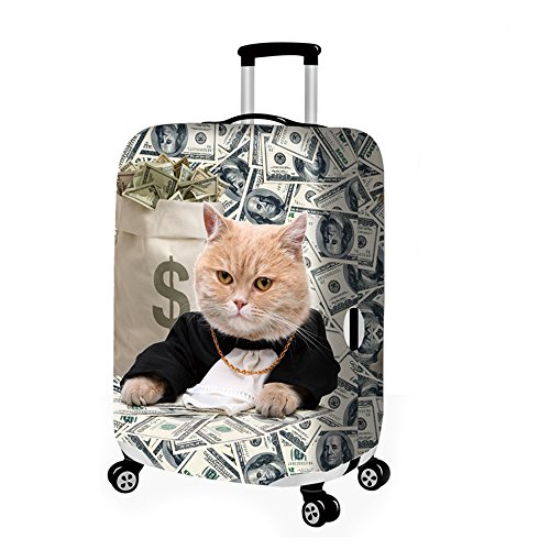 Travel Rolling Luggage CoverCute 3D Luggage Protector Suitcase Cover (bad cat 03, M)