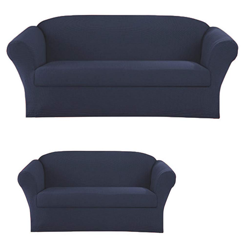 Elegant Home Stretch to Fit 3 Piece or 2 Piece or 1 Piece for Sofa Loveseat & Arm Chair Slipcover Furniture Protector # Stella (2 Piece Sofa &Love Seat Cover (2PC), Navy)
