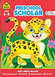 School Zone - Preschool Scholar Workbook - 64 Pages, Ages 3 to 5, Preschool to Kindergarten, Reading Readiness