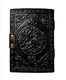 celtic leather grimoire journal with stone black