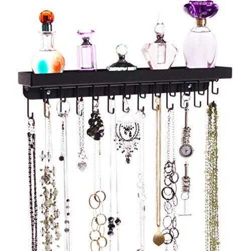 Angelynn's Necklace Holder Organizer Wall Mount Hanging Closet Jewelry Storage Rack with Shelf, Schelon Black
