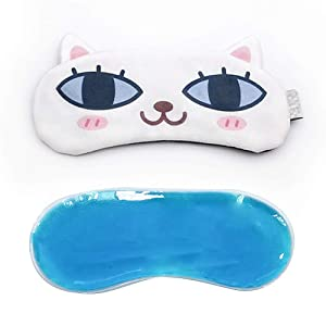 Winmoom Cat Dog Cute Sleep Eye Mask with Gel pad for Sleeping, Super Soft and Light for Insomnia Puffy Eyes, Shift Work Blindfold Eyeshade for Men and Women Kid