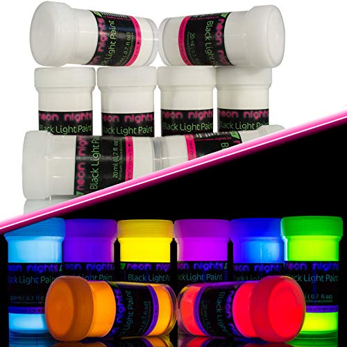 Invisible Blacklight Paint by neon nights - Set of 8 Invisible UV Paints - Bright & Long-Lasting Neon for Blacklights, UV Lights - Fluorescent Glow Paints -
