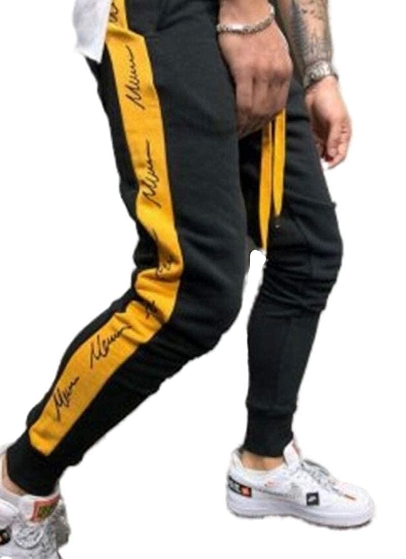WSPLYSPJY Mens Casual Loose Letter Print Sport Drawstring Jogger Pants