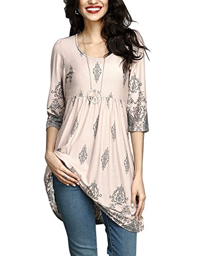 Shineya Womens Fashion 3/4 Sleeve Tunic Dress Tops Whith Plus Size Light Pink XL (3/4 Sleeve Silk Top)