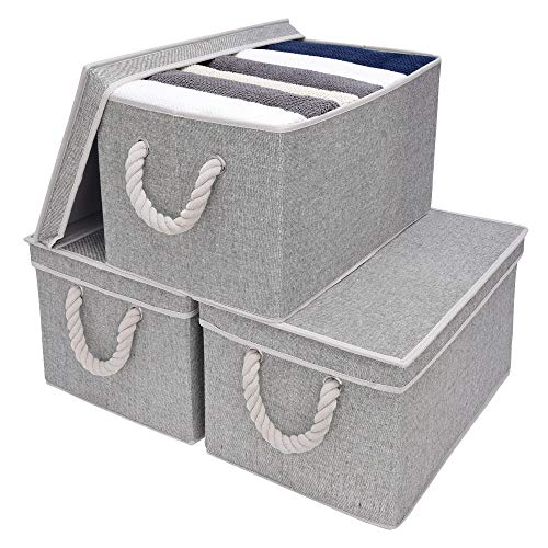 (StorageWorks Storage Bins with Lids and Cotton Rope Handles, Rectangle Storage Basket, Gray, Jumbo, 3-Pack)