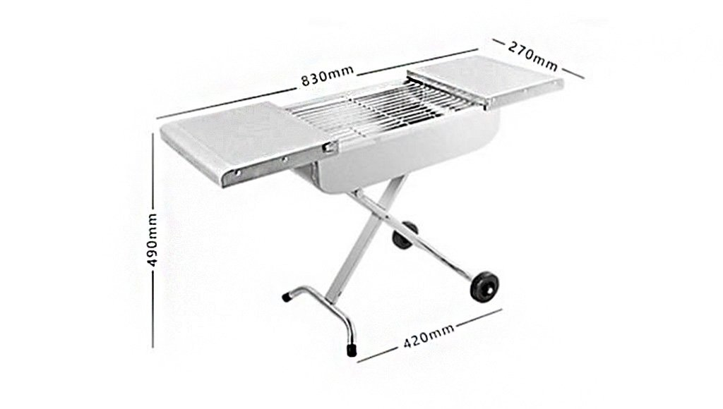 Barbecue Grill, Portable Barbecue Trolley BBQ Utensil Ausgestattet Mit Barbecue Tools - 83X27X49cm