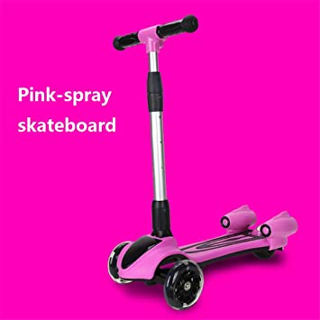 MYMGG Scooter de los niños Spray + Flash + música Pedal Scooter Plegable 4 Ajuste de