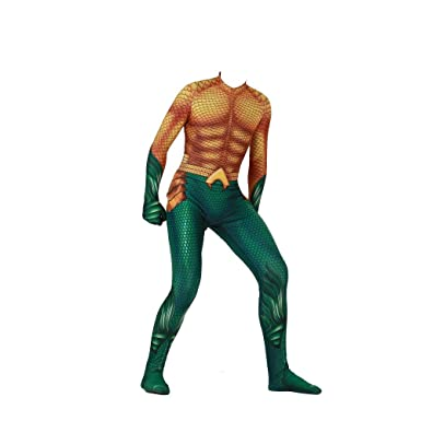 b87e288e3547 Image Unavailable. Image not available for. Color  Justice League Movie  Aquaman Costume Adult Child s Deluxe Arthur Curry Bodysuit Cosplay