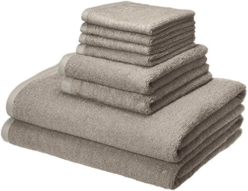 AmazonBasics Quick-Dry Bathroom Towels, 100% Cotton, 8-Piece Set, Platinum