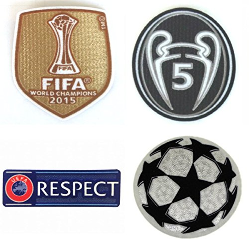 BARCA2015 FC Barcelona Patch Set 2015-2016 Soccer Jersey Badges Football Shirt Patches FIFA 2015 Club World Champions, Uefa Champions League Trophy 5 STARBALL