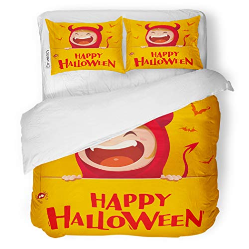SanChic Duvet Cover Set Yellow Happy Halloween Red Devil Demon Big Signboard Decorative Bedding Set with 2 Pillow Cases Full/Queen Size]()