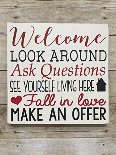 Wooden Sign Decorative Open House Welcome Make an Offer Real Estate Agent Sell This House Staging Realty Developer Farmhouse Style Wall Sign