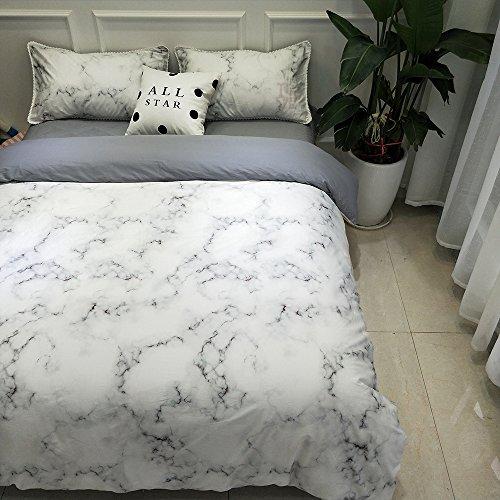 BuLuTu Marble Kids Duvet Cover Twin Cotton White,Premium 3 Pieces Bedding Sets Twin Cotton,Modern Grey Nature Granite Print,Gifts for Child,Men,Women,Family,NO COMFORTER