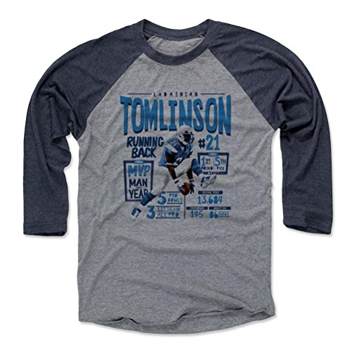 500 LEVEL LaDainian Tomlinson Baseball Shirt XXX-Large Navy/Heather Gray - Vintage San Diego Football Fan Apparel - LaDainian Tomlinson Position L
