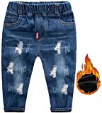 Little Boys Casual Warm Fleece Lined Thermal Distressed Jeans with Ripped Holes Blue, Age 5T - 6T ( 5-6 Years ) = Label 130