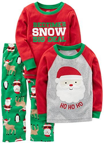 Simple Joys by Carter's Boys' Toddler 3-Piece Santa Pajamas, Green/Red Santa, (Kids Clothes For Christmas)