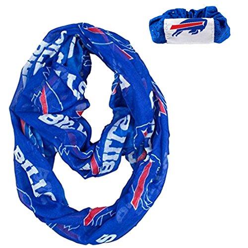 Nfl Scarves Shop (Official National Football League Fan Shop Authentic NFL Womens Infinity Scarf and Hair Scrunchie Bundle Set (Buffalo Bills))