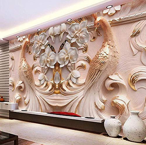 XDRZSE Photo Wallpaper 3D Embossed Peacock Butterfly Floral Background Wall Mural Wallpaper Living Room TV-220X180cm