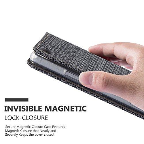 Cadorabo - Funda Estilo Book para Huawei P8 de Diseño Tela / Cuero Arificial con Tarjetero, Función de Suporte y Cierre Magnético Invisible - Etui Case Cover Carcasa Caja Protección en AZUL-OSCURO-NEG GRIS-NEGRO