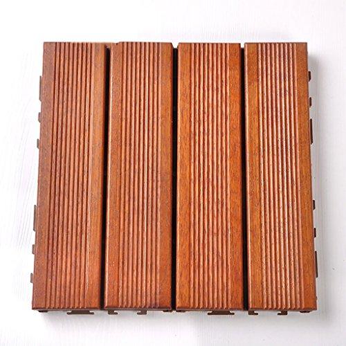 Flooring Wooden floor,outdoor patio garden terrace preservative solid wood mosaic floor,solid wood self-pelled square floor interior balcony bathroom wooden slip-proof DIY floor size: 30303.2cm