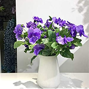 Skyseen 6Pcs Artificial Flower Pansy Viola Tricolor Bouquet for Wedding Home Party Office Restaurant Cafe Vase Photography Decoration Gift 67