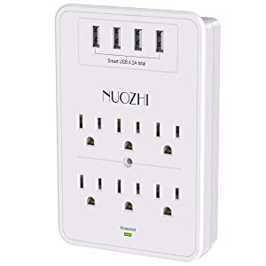 Multi Plug Outlet, Surge Protector, NUOZHI USB Wall Charger with 6-Outlet Extender and 4 USB Ports,1680 Joules, White, ETL Listed