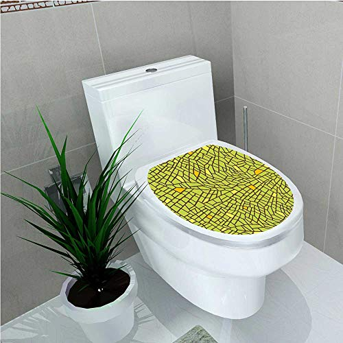 aolankaili Decoration Bathroom Toilet Cover Sticker Conceptual Stained Glass Design Mosaic Pavement Cracked Like Pieces Green Orange Yellow W14 x L14