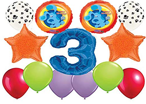 - Happy 3rd Birthday Blues Clues Balloon Bouquet 13 Count