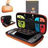 Orzly Carry Case Compatible With Nintendo Switch - ORANGE Protective Hard Portable Travel Carry Case Shell Pouch for Nintendo Switch Console & Accessories