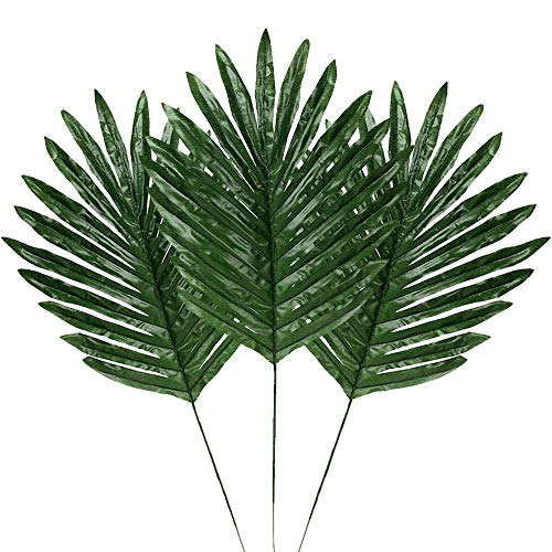LOMIRO 30 Pcs Faux Palm Leaves with Stems Artificial Tropical Plant Imitation Safari Leaves Hawaiian Luau Party Suppliers Decorations,Tiki,Aloha Jungle Beach Birthday Leave Table Decorations -