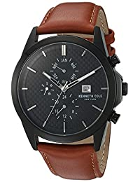 Kenneth Cole New York Men's 'Sport' Quartz Stainless Steel and Leather Dress Watch, Color:Brown (Model: 10030792)