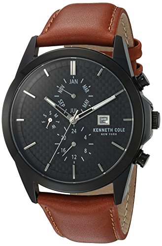 Kenneth Cole New York Men's'Sport' Quartz Stainless Steel and Leather Dress Watch, Color:Brown (Model: 10030792)
