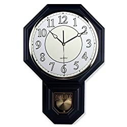 Traditional Schoolhouse Pendulum Luminous Wall Clock Chimes Hourly with Westminster Melody Made in Taiwan, 4AA Batteries Included (PP0258-2L Matt. Black)