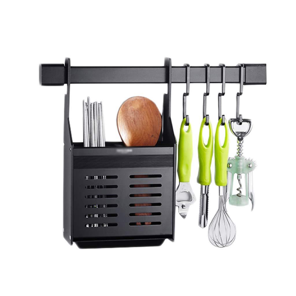 Chopsticks Cage Kitchen Rack Aluminum Drain Black Hook Wall-Mounted Multi-Function Storage Household Free Punching 18cm8cm48cm MUMUJIN