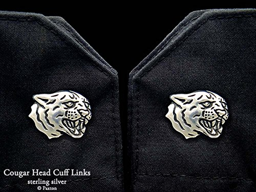 Cougar Head Cuff Links in Solid Sterling Silver Hand Carved & Cast by Paxton by Paxton Jewelry