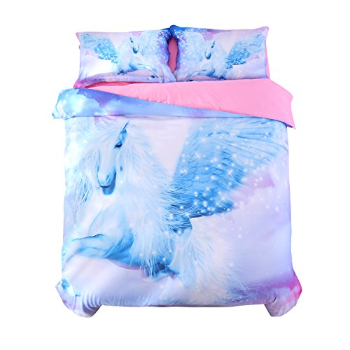 (Beddinginn Unicorn Bedding Set 3D Unicorn Duvet Cover Set Light Purple Fairy Flying Horse Bed Cover Set No Comforter Queen Size Bed Set (89