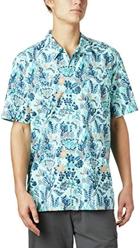 Columbia Men`s Trollers Best Short Sleeve Shirt Gulf Stream Tuna Reefs Print 5XT