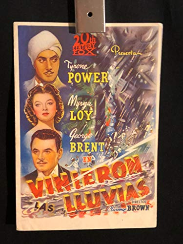 The Rains Came 1939 Original Vintage Spanish Herald Program Movie Poster, Myrna Loy, Tyrone Power, George Brent
