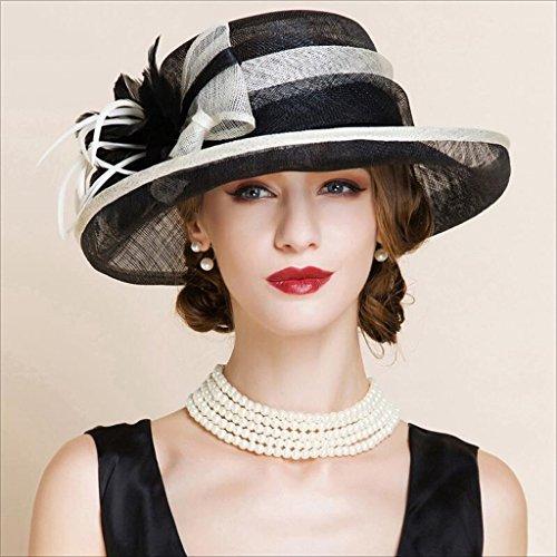 Mbd Europe Style Elegant Hat for Women Beach Sunhat Fashion Banquet British Hemp Hat