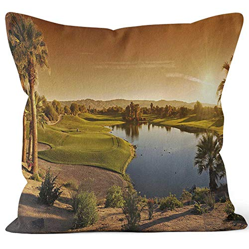 Nine City Palm Desert Golf Panorama Landscape Home Decorative Throw Pillow Cover,HD Printing Square Pillow case,16